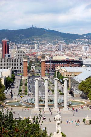 espanya: View at city of Barcelona and Placa dEspanya Stock Photo