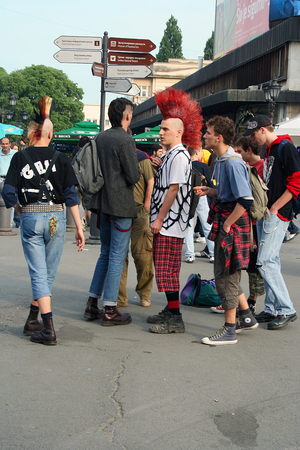 NOVI SAD, SERBIA, AUGUST, 2007. - Young men dressed in punk and rock fashion