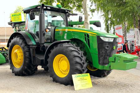 deere: NOVI SAD, SERBIA, MAY 2016. - John Deere tractor on display on Agricultural fair in Novi Sad, Serbia
