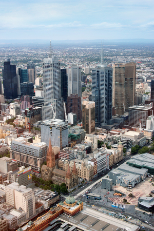 Luchtfoto van Melbourne in Victoria, Australië