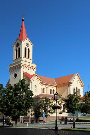 De rooms-katholieke kerk in het centrale plein van Zrenjanin in Servië Stockfoto