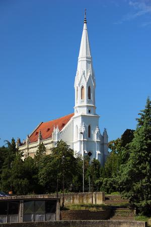 Zicht op de protestantse kerk in Zrenjanin, Servië Stockfoto