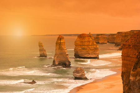 Sunset at Twelve Apostles along the Great Ocean Road in Australia, near Melbourne