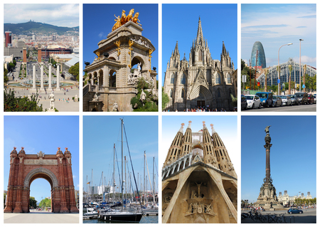 Collage with famous landmarks in Barcelona, Spain