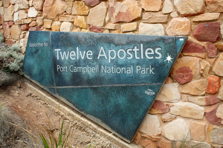Entry sign to lookout for the Twelve Apostles in Australia