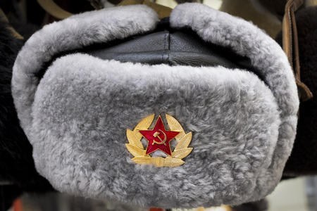 Grey Russian Soviet Red Army USSR winter fur hat called Ushanka Stok Fotoğraf
