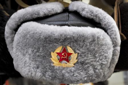 Gris soviétique russe Armée rouge URSS fourrure d'hiver chapeau appelé Ushanka