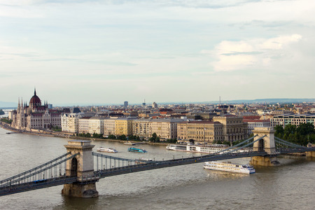 Chain bridge and the city of Budapest, Hungary Stok Fotoğraf