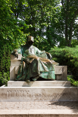 Anonymus statue in City Park in Budapest, Hungary Stok Fotoğraf