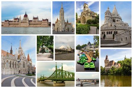 Collage met beroemde monumenten in Boedapest, Hongarije Stockfoto