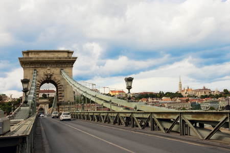 The Chain Bridge over Danube river with view to Pest side in Budapest city the capital of Hungary Stok Fotoğraf