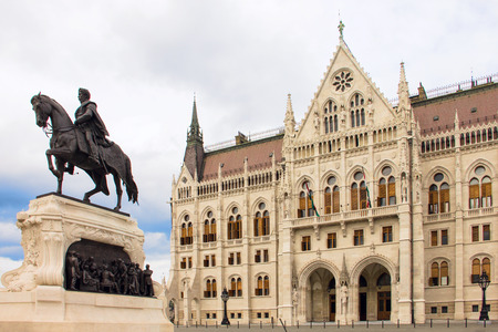 Front entrance of the Hungarian Parliament in Budapest, Hungary
