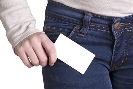 stock photography: Woman holding a notecard Stock Photo