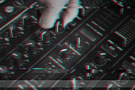 DJ Hand Mixing on Controller, Glitch Black and White