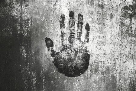 hand print on wall background