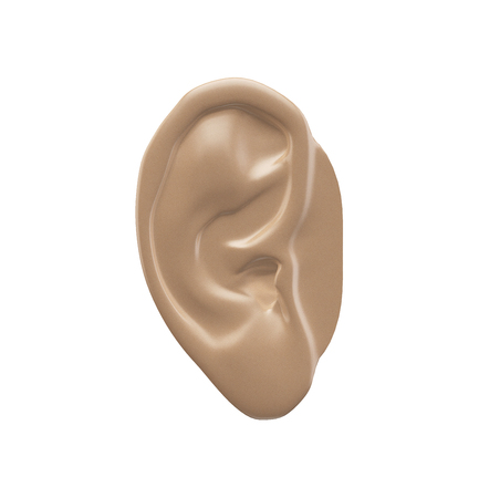 3D Human Ear isolated on white Banco de Imagens
