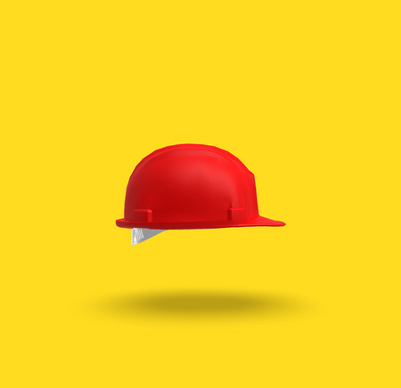 Red Helmet on Yellow Background, 3D Rendering