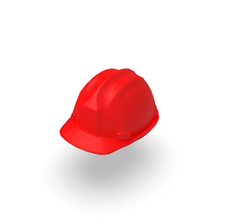 Red Helmet on isolated White Background, 3D Rendering