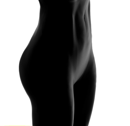 Woman silhouette Close up on isolated White. 3D Rendering