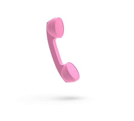 Telephone Handset Pink Color, isolated on White, 3D Rendering