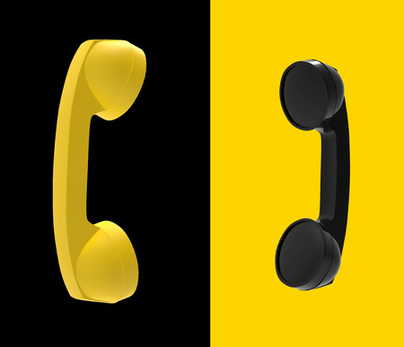 Telephone Handset Black and Yellow Concept, 3D Rendering