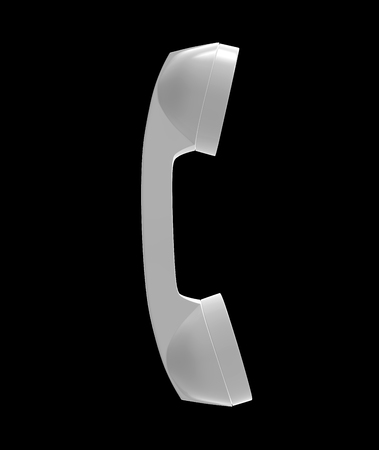 Telephone Handset Gray Color on Black Background, 3D Rendering