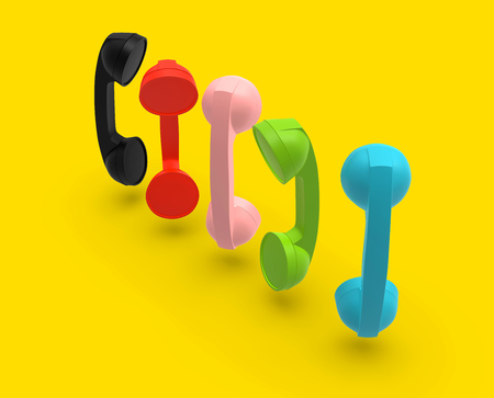 Telephone Handsets Set Concept on Yellow Background, 3D Rendering