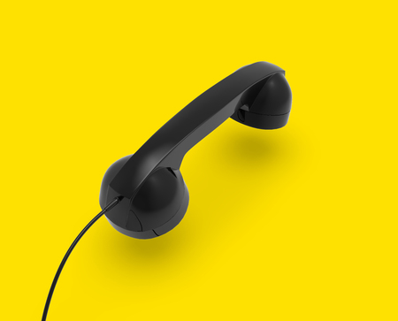 Telephone Handset, Black Color on Yellow Background, 3D Rendering