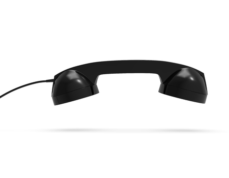 Telephone Handset, Black Color, isolated on white background, 3D Rendering Banco de Imagens