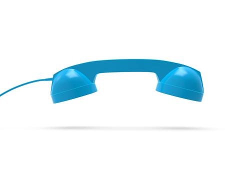 Telephone Handset Blue 3D Rendering