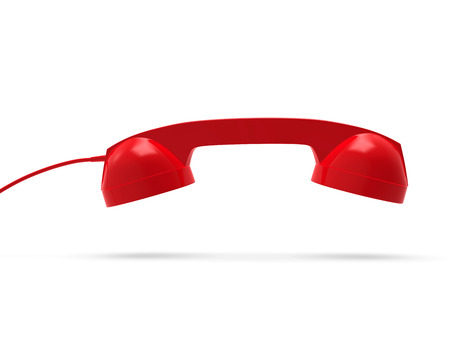 Telephone Handset Red Color, 3D Rendering
