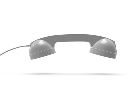 Telephone Handset Gray Color, 3D Rendering