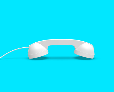 Telephone Handset Gray Color on Blue Background, 3D Rendering