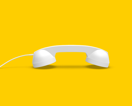 Telephone Handset White Color on Yellow Background, 3D Rendering Banco de Imagens