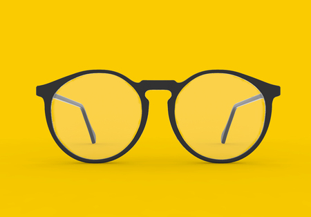 Glasses isolated Yellow Background