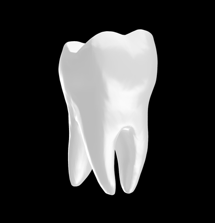 Tooth isolated on Black Background 3D Rendering