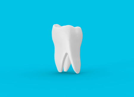 Tooth on Blue Background 3D Rendering Banco de Imagens