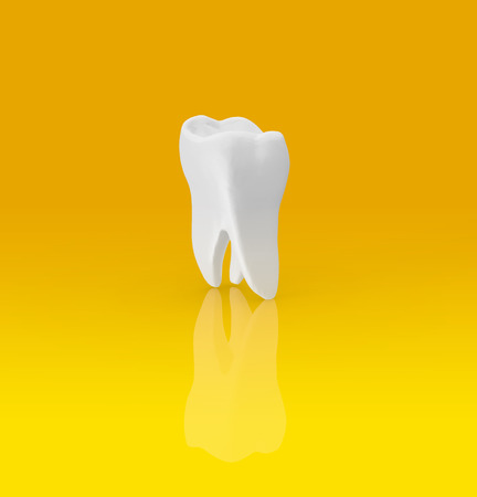 Tooth on Yellow Background 3D Rendering