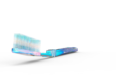 Tooth Brush Blue isolated on White 3D Rendering