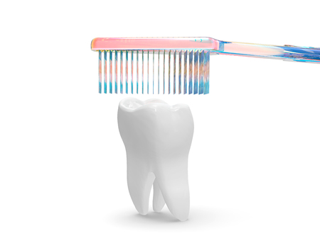Tooth Care With Brush Concept 3D Rendering