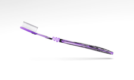 Tooth Brush Purple on White Background 3D Rendering Banco de Imagens