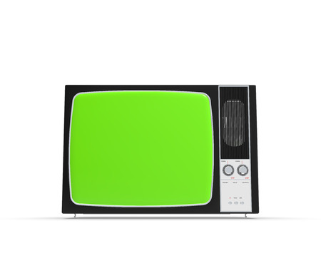 Old television isolated on White background With Green screen, 3D Rendering Banco de Imagens
