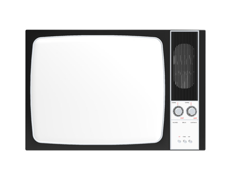 Old television isolated on White background, 3D Rendering