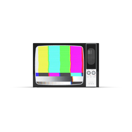 Old television no signal screen isolated on White background, 3D Rendering Banco de Imagens
