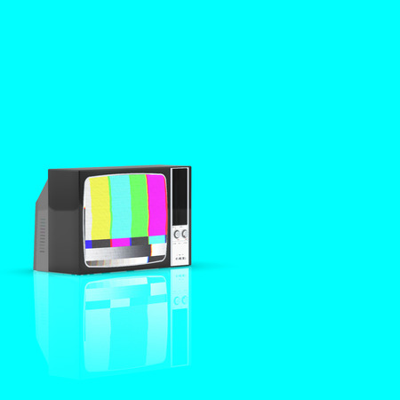 Old television no signal screen isolated on Blue background, 3D Rendering