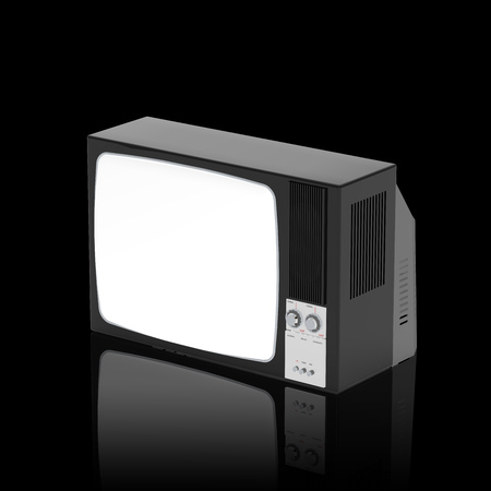 Old television isolated on Black background, 3D Rendering