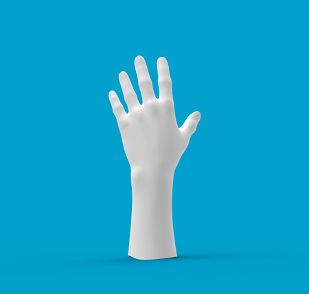 White hand on a Blue background. 3d image, 3d rendering Banco de Imagens - 122465330