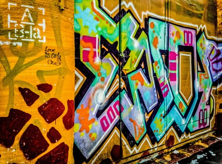 artwork: Street artisvisual artcreated in public locations, usually unsanctioned artwork executed outside Stock Photo