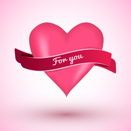 Love card for Valentine s day with pink heart and ribbon   illustration  Vector