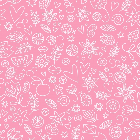 Seamless doodle hearts   pattern  Valentine s day  Vector
